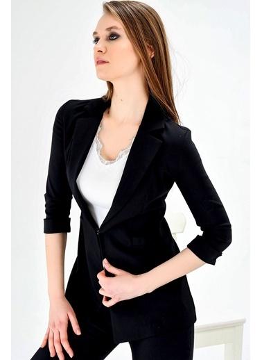 Jument Ashley Ceket Yakalı Capri Kol Ceket Siyah